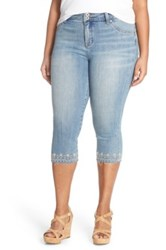 Lucky Brand 'Emma' Embroidered Hem Stretch Crop Jeans Victoria Blue Plus Size