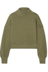 Agolde Cropped Cotton Terry Turtleneck Top Army Green