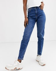 Pieces High Waist Mom Jean In Blue