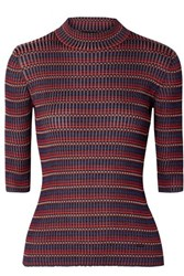 Akris Striped Mulberry Silk Sweater Red