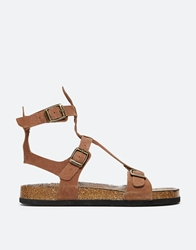 Yru Isis T Bar Gladiator Footbed Flat Sandals Brown