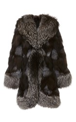 Anna Sui Silver Fox Fur Coat Grey
