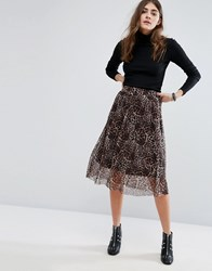 B.Young Leopard Print Pleated Midi Skirt Camel Tan