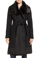 Vince Camuto Women's Faux Shearling Trim Belted Wool Blend Long Coat