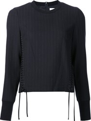 3.1 Phillip Lim Corset Seamed Pinstriped Top Blue