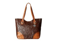 American West Annie's Secret Collection Large Zip Top Tote Chestnut Brown Golden Tan Tote Handbags