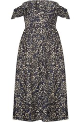 Apiece Apart Novella Maria Off The Shoulder Printed Cotton And Silk Blend Midi Dress Indigo