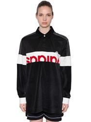 Adidas By Alexander Wang Velour And Cotton Maxi Polo T Shirt Black