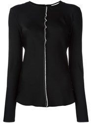 Dkny Contrast Exposed Seam Blouse Black