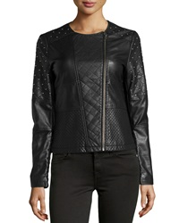 Neiman Marcus Faux Leather Quilted Studded Jacket Black