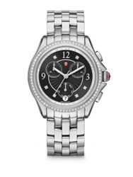 Michele Sport Chronograph Diamond And Stainless Steel Bracelet Watch Silver