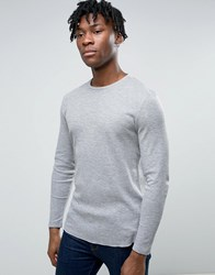 Asos Muscle Long Sleeve Waffle T Shirt With Curved Hem Grey Marl