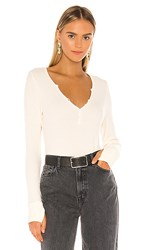 Michael Lauren Tahoe Deep V Button Henley In Ivory. Ivory Lace
