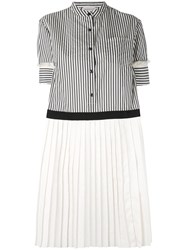 Moncler Short Sleeved Striped Pleated Dress Women Cotton Polyester 38 Blue