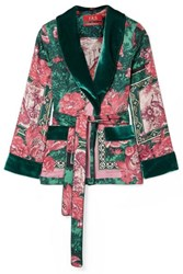 F.R.S For Restless Sleepers Armonia Velvet Trimmed Printed Silk Twill Jacket Pink