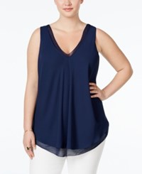Rachel Rachel Roy Plus Size Sleeveless Pleated Blouse Navy