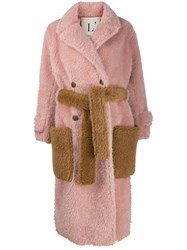 L'autre Chose Oversized Faux Fur Coat Pink