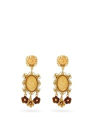 Dolce And Gabbana Cameo Flower Drop Coin Earrings Gold
