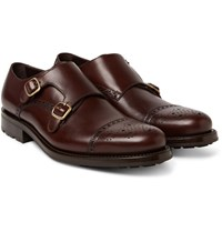 O'keeffe Bristol Weatherproof Leather Monk Strap Shoes Dark Brown
