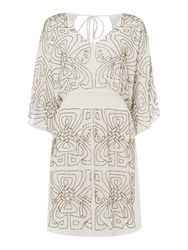 Biba Logo Embellished Dress White