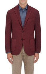 Barneys New York Men's Wool Silk Two Button Sportcoat Burgundy
