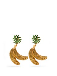 Dolce And Gabbana Crystal Banana Clip On Earrings Yellow