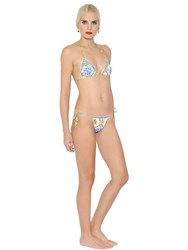 Dolce And Gabbana Maiolica Printed Triangle Bikini