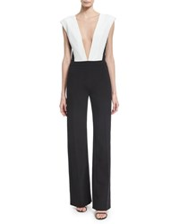 Thierry Mugler Plunging V Plisse Paneled Wide Leg Jumpsuit Black White Off White