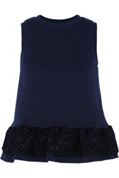 Mother Of Pearl Averil Embroidered Cotton Peplum Top Storm Blue