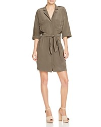 Reiss Arizona Belted Shirt Dress Pine Green