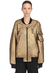 Nicolo Tonetto Milano Gold Flux Embossed Faux Leather Bomber