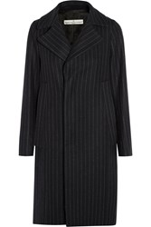 Golden Goose Pinstriped Wool Blend Coat Midnight Blue