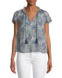 Ella Moss Floral Print Short Sleeve V Neck Blouse Gray Pattern