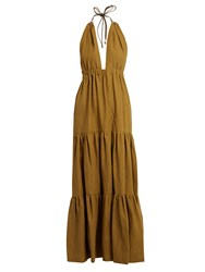 On The Island Halterneck Tiered Linen Maxi Dress Khaki