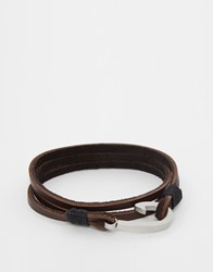 Seven London Hook Leather Wrap Bracelet In Tan Brown