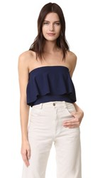 Milly Strapless Flounce Top Navy