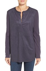 Nic Zoe Women's Faux Suede And Ponte Top Japanese Violet
