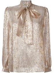 Saint Laurent Long Sleeve Lavaliere Blouse Nude Neutrals
