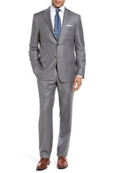 Hickey Freeman Men's Big And Tall Classic Fit Stripe Wool Suit Grey