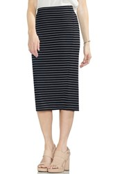 Vince Camuto Ribbed Stripe Pencil Skirt Rich Black