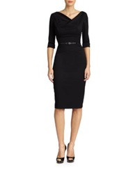 Black Halo Jackie O. Three Quarter Sleeve Dress Black