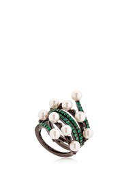 Colette Jewelry Entwined Emerald Black Gold Ring