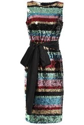 Ainea Woman Belted Striped Sequined Woven Dress Multicolor