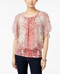 Styleandco. Style And Co. Flutter Sleeve Banded Hem Top Only At Macy's Ombre Scroll