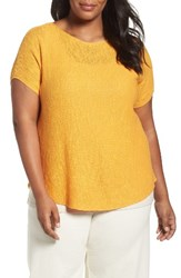 Eileen Fisher Plus Size Women's Organic Linen And Cotton Rib Sweater Orange