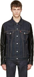 Junya Watanabe Indigo Faux Leather Sleeves Denim Jacket