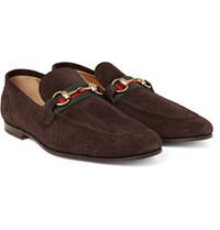 Gucci Horsebit Suede Loafers Dark Brown