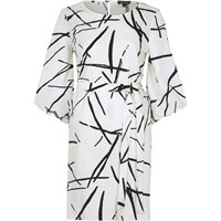 River Island White Abstract Print Puff Sleeve Swing Dress