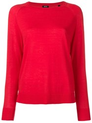 Aspesi Boat Neck Knitted Top Red