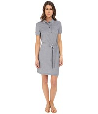 Lacoste Short Sleeve Caviar Pique Polo Dress Cliff Navy Blue Women's Dress Gray